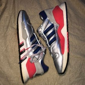 ADIDAS MICROPACER Silver/Red/Blue Running Shoes